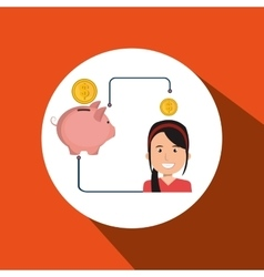 Woman cartoon piggy currency money vector