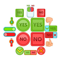yes no icons set cartoon style vector image