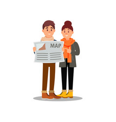 young guy and girl looking at map couple of vector image