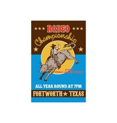 American Rodeo Cowboy riding a bull vector image