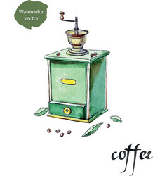antique coffee grinder and coffee beans with vector image vector image