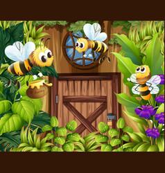 bees flying around the garden vector image vector image
