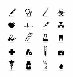 Black and white medical icons vector