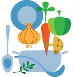 cooking and vegetables vector image vector image