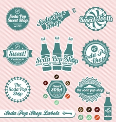 Vintage Soda Pop Labels and Stickers vector image