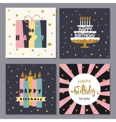 Collection of Creative Happy Birthday Cards vector image