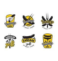 Sausage grill logo set vector image vector image