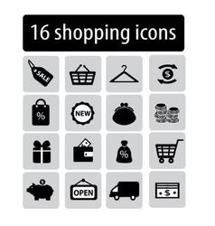 set of black shopping icons vector image