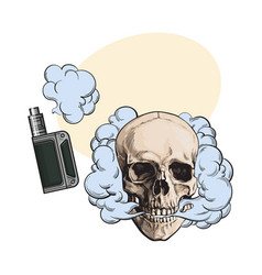 smoke coming out of fleshless skull and vape vector image vector image