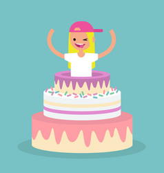 young female character jumping out of a cake vector image vector image
