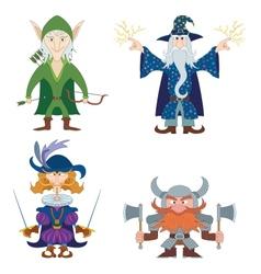 Fantasy heroes set vector image vector image