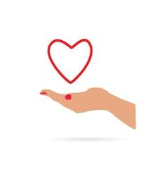 heart in hand love vector image