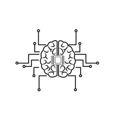 printed circuit board human brain center of vector image
