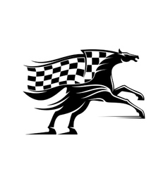 Racehorse with racing flag icon vector image vector image