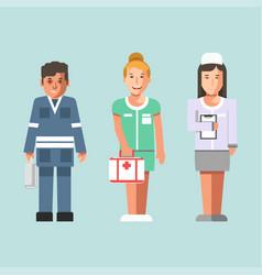 representatives of medical service in uniform vector image