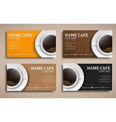 Template coffee club cards with hand drawings and vector image vector image