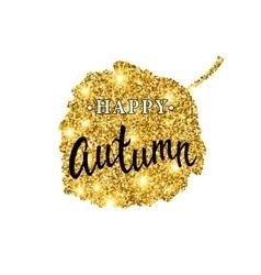 Autumn brush lettering gold glitter banner vector