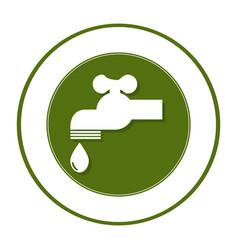 Circular frame with symbol saving water faucet vector