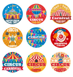 circus vintage labels and emblems vector image vector image