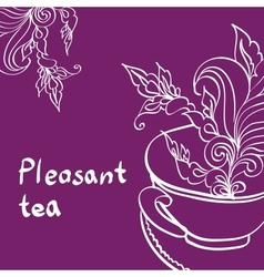 Cup of Tea with Leaf vector image vector image