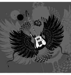 flying guitar vector image vector image