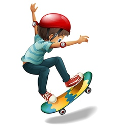 A little man skateboarding vector image