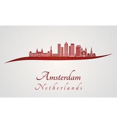 Amsterdam V2 skyline in red vector image