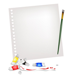 Artist Brush and Paint Tubes on A Blank Page vector image