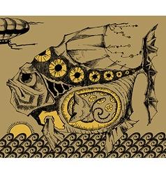 Artstic fish sketch vector