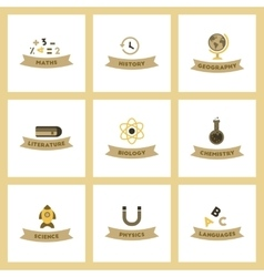 Assembly flat icons rocket geography physics vector