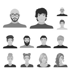 Avatar and face monochrome icons in set collection vector