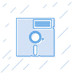 Blue floppy disk in 525-inch line icon vector