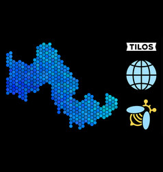 Blue hexagon tilos greek island map vector