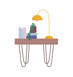 books lamp and plant on table decoraiton isolated vector image
