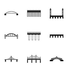 Bridge transition icons set simple style vector image