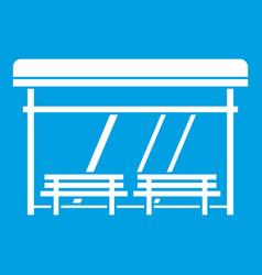 Bus stop icon white vector