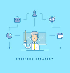 business strategy cartoon character giving vector image