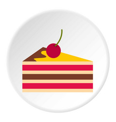 cake with cherries icon circle vector image