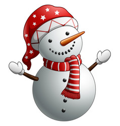 cartoon snowman isolated on white background vector image