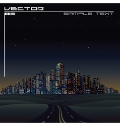 City on horizon urban road megalopolis vector
