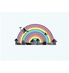 city rainbow airplane vector image
