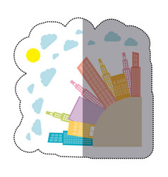 Colorful round city with builds and clouds vector