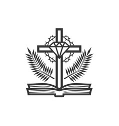 Cross christ and holy scriptures vector