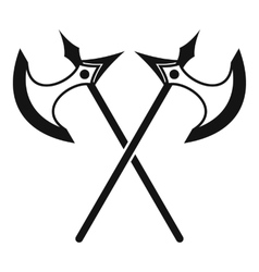Crossed battle axes icon simple style vector image