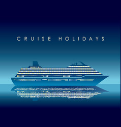 Cruise liner at night with text space vector