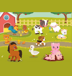 Cute baby farm animals with village landscape vector