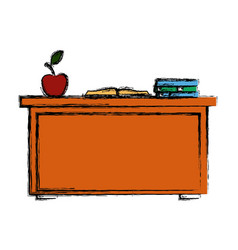 Desk with books vector