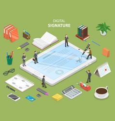 digital signature flat isometric concept vector image