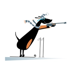 Dog a biathlon competitor vector