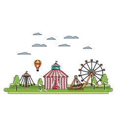 Doodle carnival with circus and mechanical ride vector